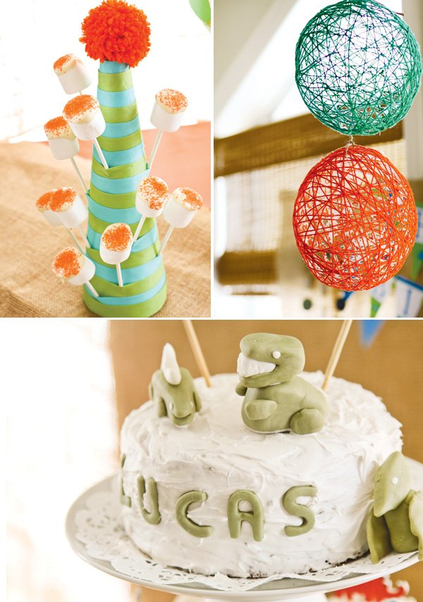 dinosaur egg shaped yarn balls a marshmallow pop holder and cute t-rex fondant cake topper