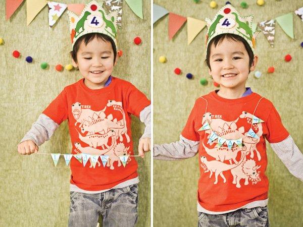 dinosaur birthday party hat and boys t-shirt