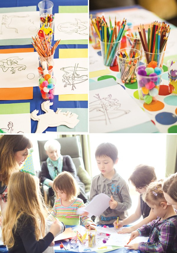 dinosaur party coloring activity