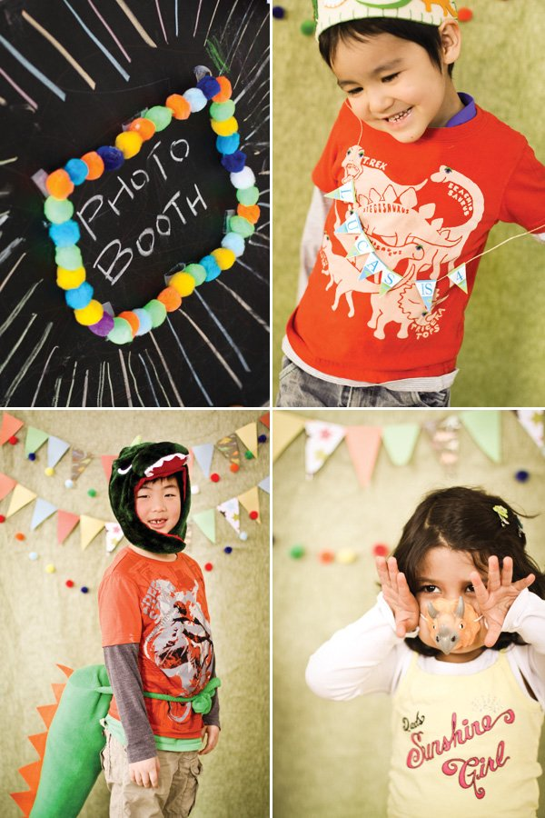 dino birthday party kids photo booth with felt props