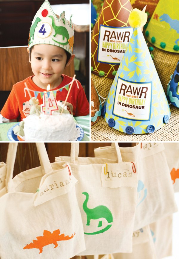dinosaur party happy birthday totes
