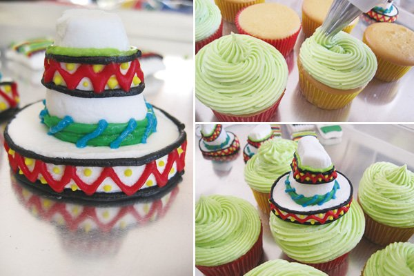diy marshmallow sombrero cupcake topper for cinco de mayo