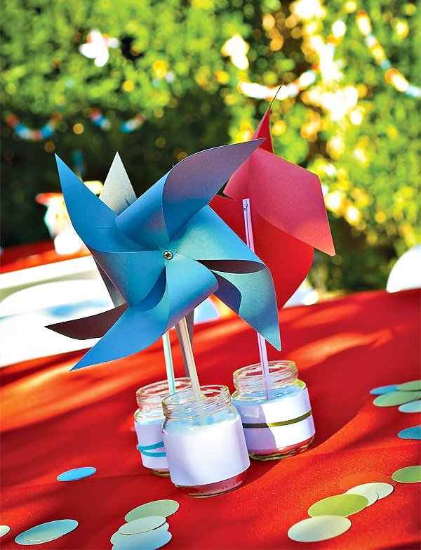 DIY red and blue pinwheel table centerpieces