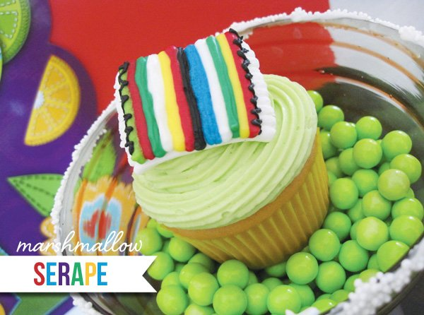 cinco de mayo cupcakes with marshmallow serape toppers