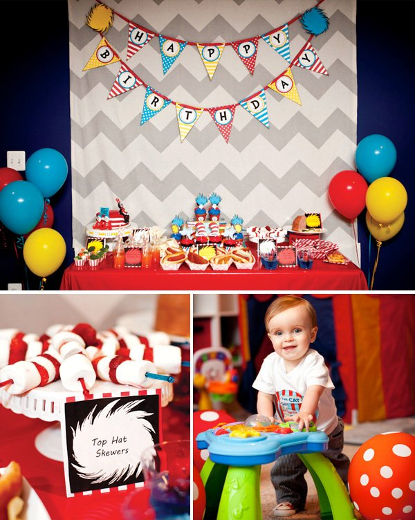 seuss birthday party dessert table