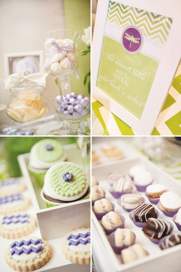 dragonfly green baby shower dessert table