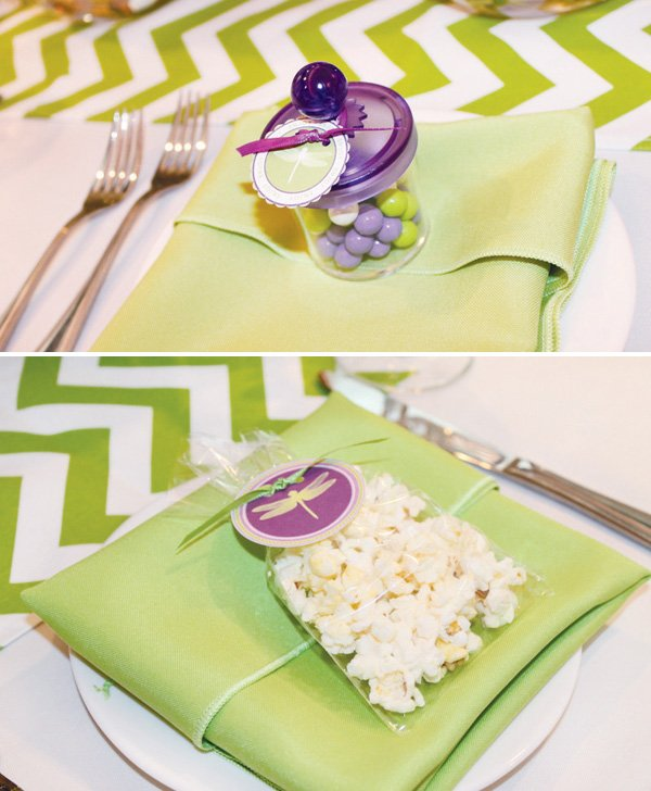 dragonfly baby shower place setting in green