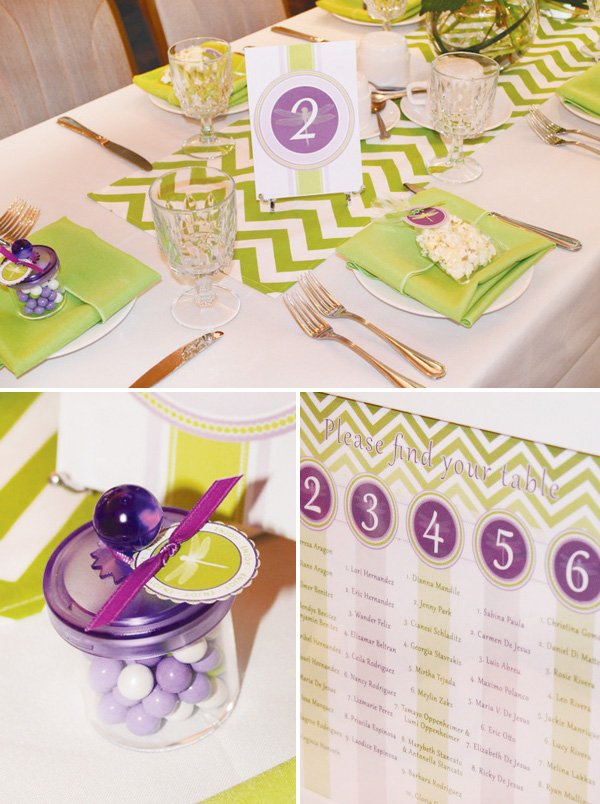 green and purple baby shower table arrangements