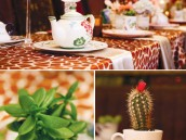 eclectic teacup baby shower vintage cups with succulents and cacti
