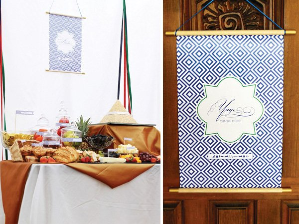 egyptian themed food buffet and hanging scroll banners