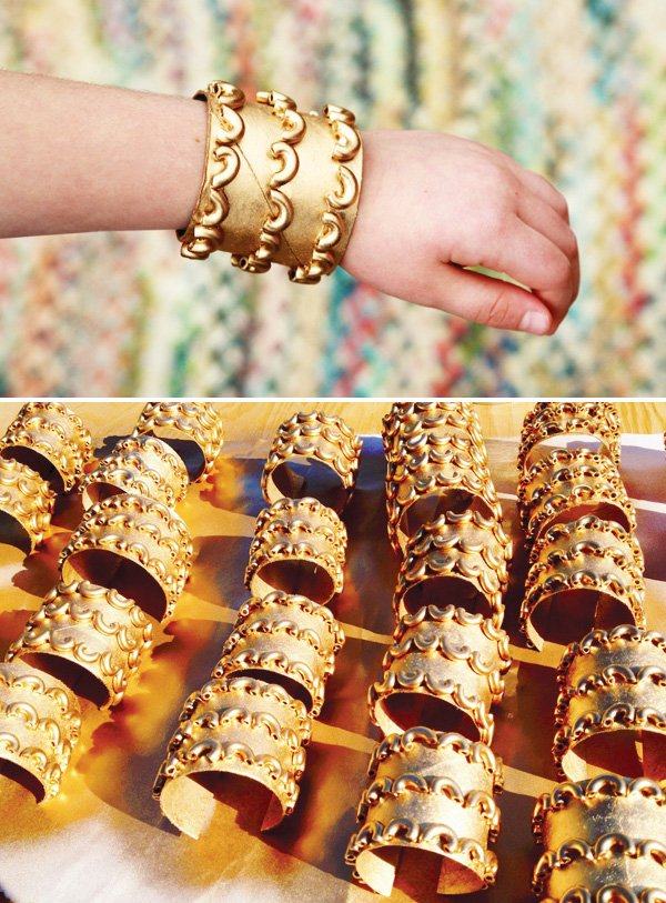 egyptian birthday party gold macaroni bracelet craft