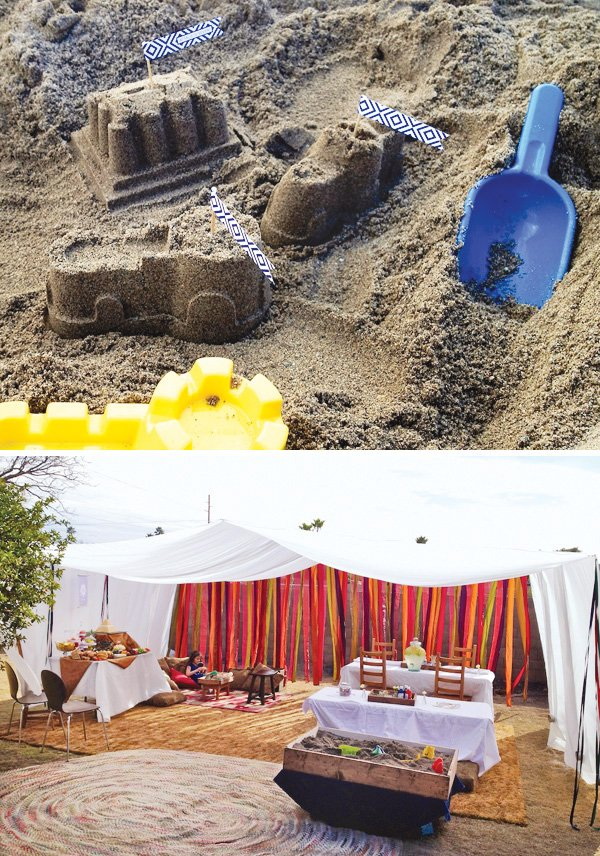 egyptian sand castles and streamer party tent
