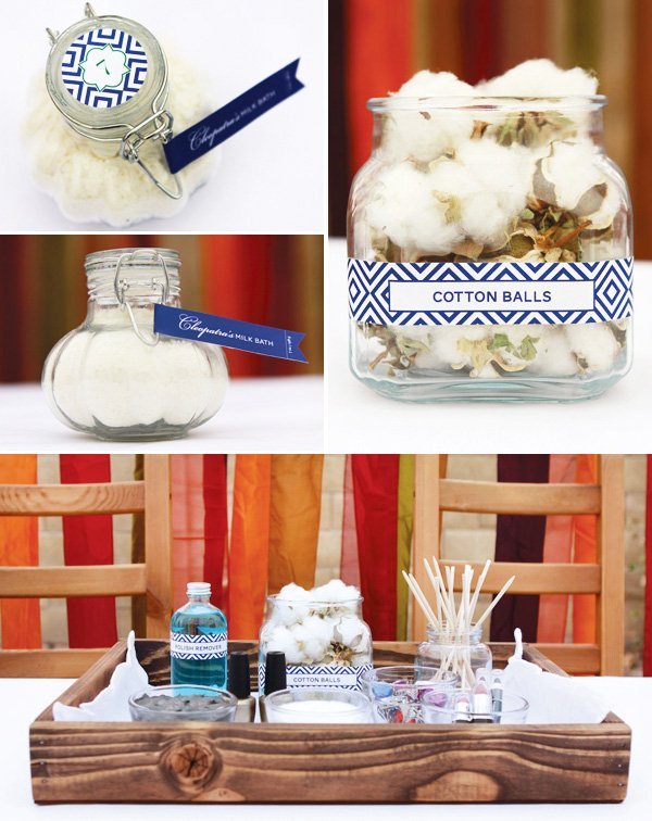 egyptian themed spa birthday party and milk bath party favors