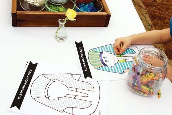 egyptian birthday party coloring book featuring pharoah illustrations