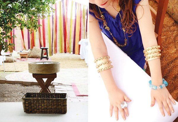 egyptian party streamer tent and gold macaroni bracelets