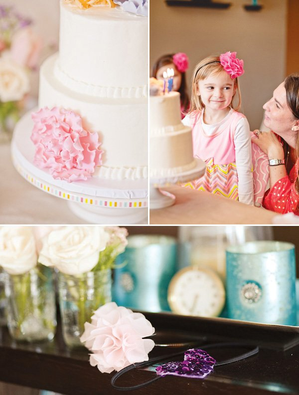 fondant pink peonies and fabric flower headbands