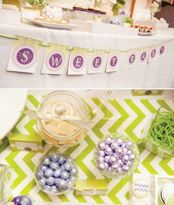 green baby shower candy