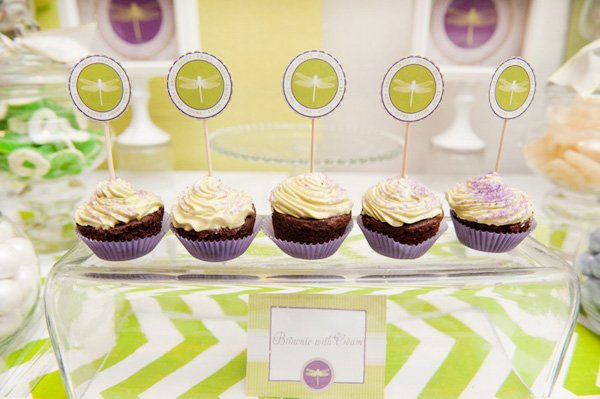 green ombre chevron party with dragonfly cupcake toppers