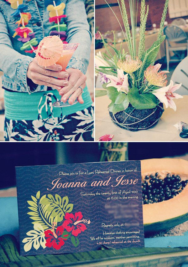 hawaiian luau dinner invitation