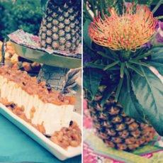 hawaiian luau dinner pineapple centerpiece and dessert