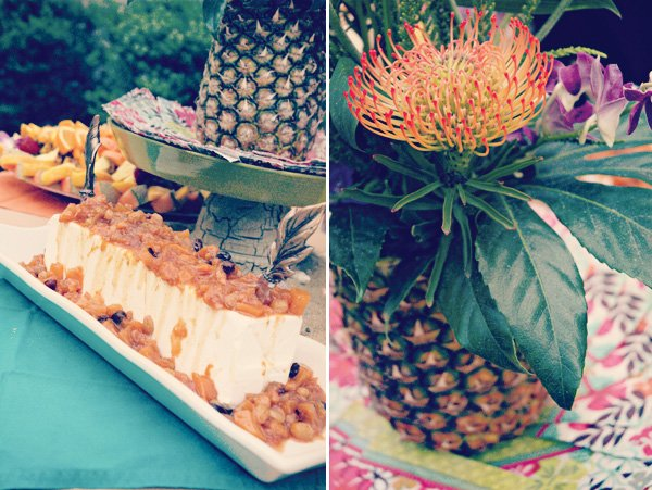 hawaiian luau dinner pineapple centerpiece and dessert