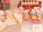 ribbons and ruffles baby shower rice krispies and mini pies