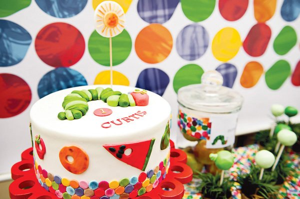 hungry caterpillar birthday party cake with cute fondant decorations