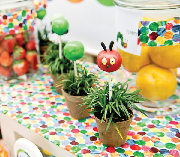 hungry caterpillar birthday party cake pops and sweets