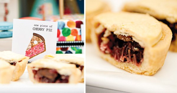 hungry caterpillar birthday party theme with a cherry pie label