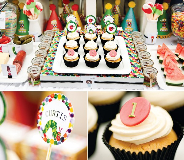 hungry caterpillar birthday party cupcakes and toppers