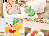 hungry caterpillar birthday party dessert table with cake pops