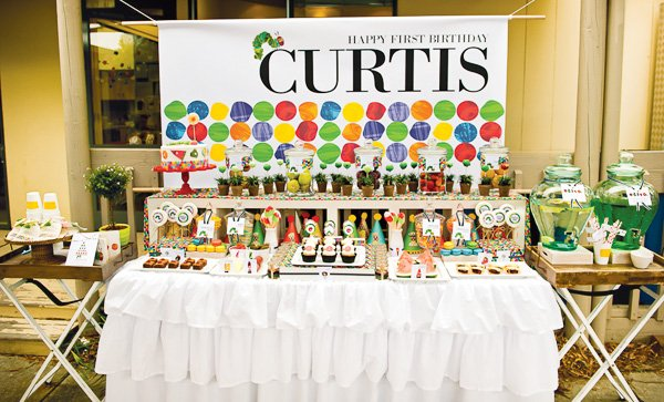 hungry caterpillar birthday party dessert table