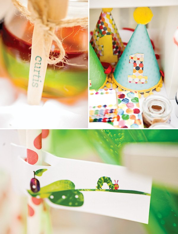hungry caterpillar birthday party hat and spoons
