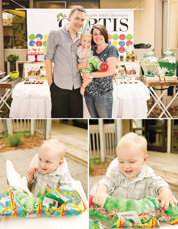 hungry caterpillar birthday party family photo and birthday boy with plush present