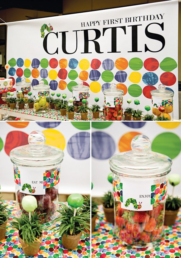 hungry caterpillar birthday party jars and backdrop