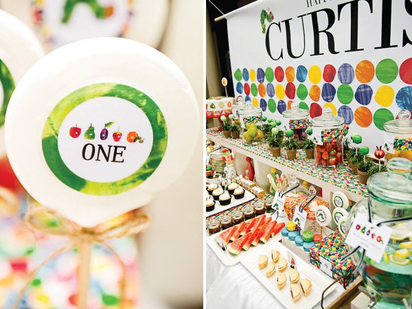 hungry caterpillar birthday party lollipops