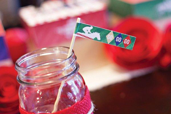 kentucky derby party mason jar drinks with horse jockey drink flags