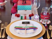 kentucky derby party place settings and tablescape with ribbon napkin rings