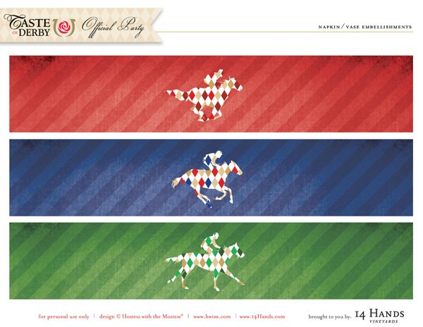 kentucky derby printables paper bands in red, green and blue