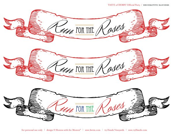 kentucky derby printables scroll banners in red and black