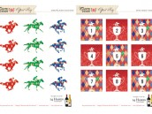 kentucky derby printables horse jockey silhouettes drink tags