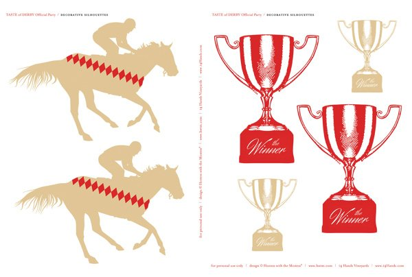 kentucky derby printables large tan horses and trophies