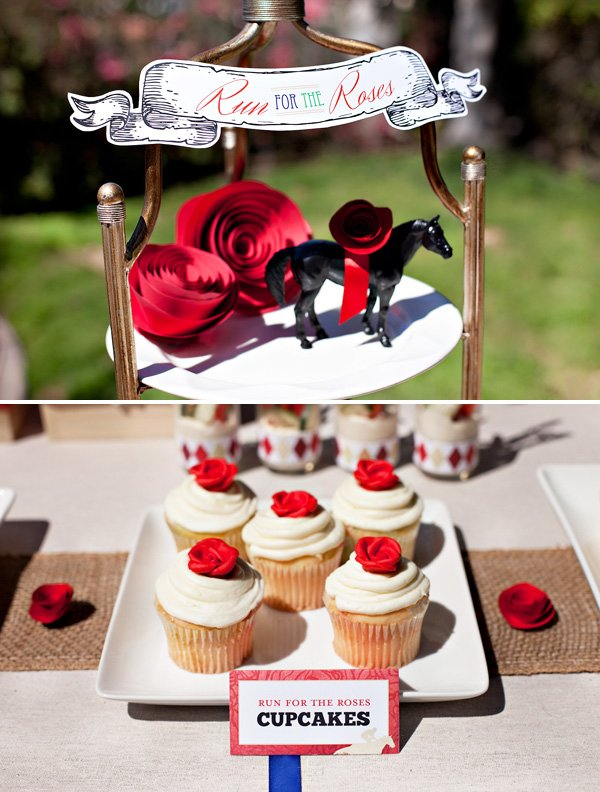 run for the roses cupcakes - royal icing red roses