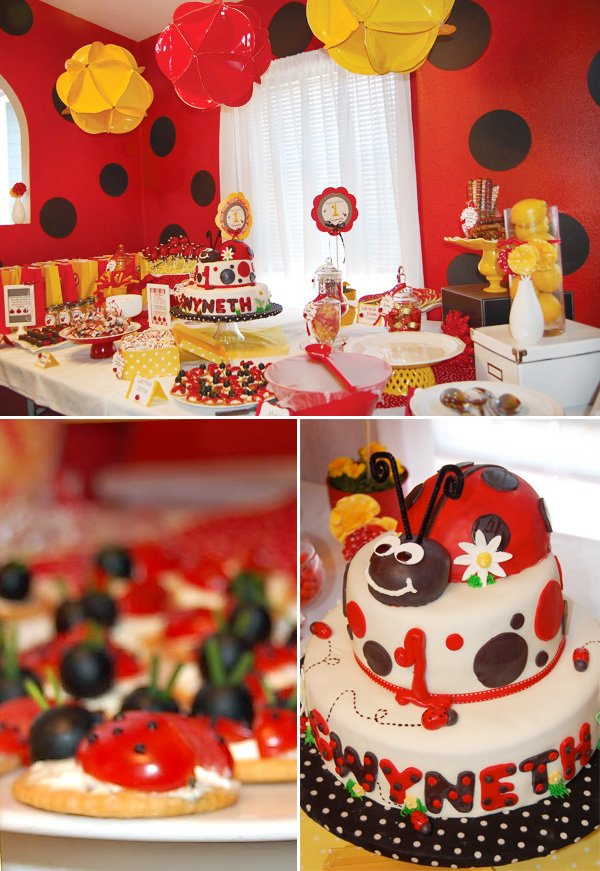 ladybug birthday bash dessert table with  a 3 tier cake