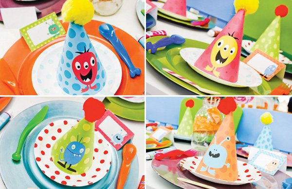 little monster party place settings and party hats