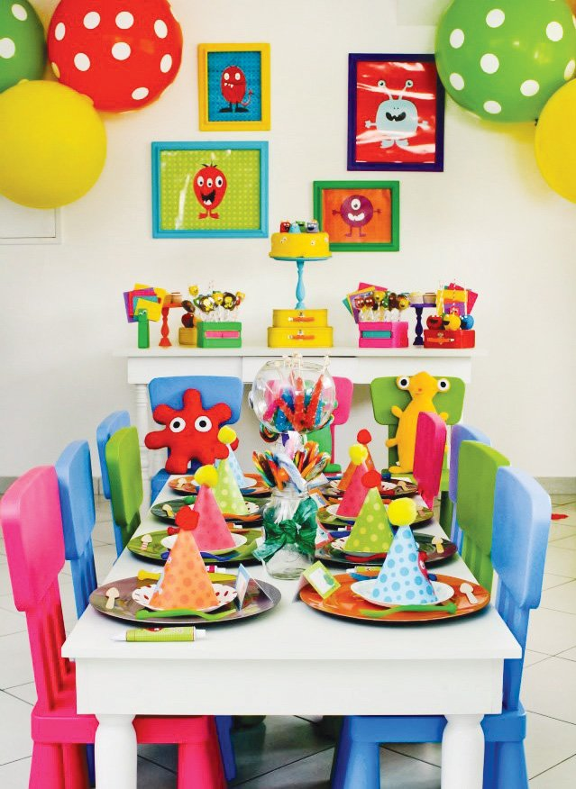 Colorful Modern Little Monster Birthday Party Hostess With The