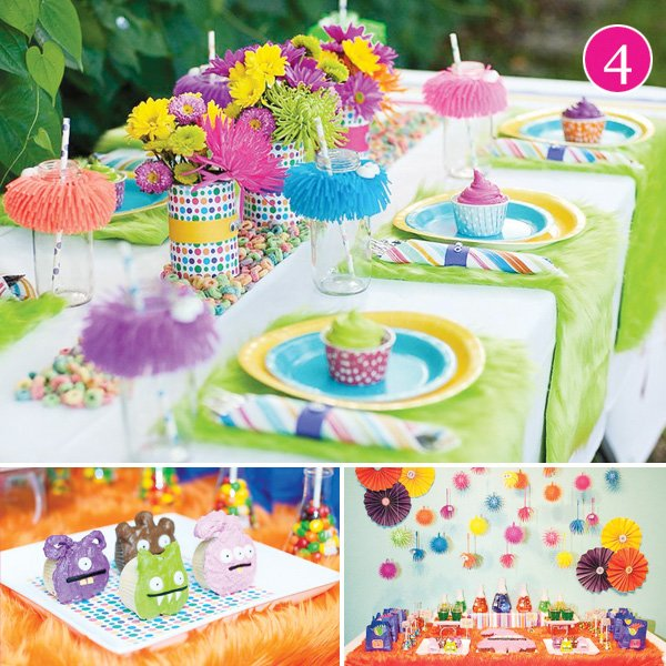 little monster style shoot with cupcakes and a colorful dessert table