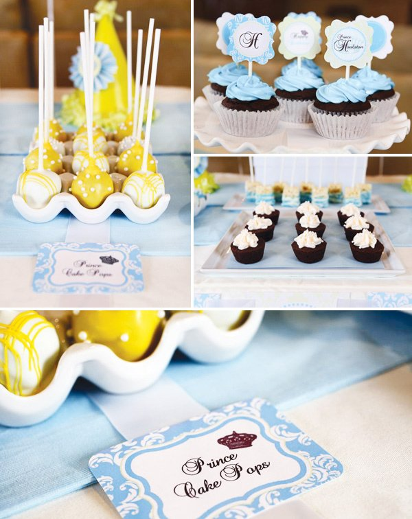 little prince birthday party yellow cake pops and cupcakes