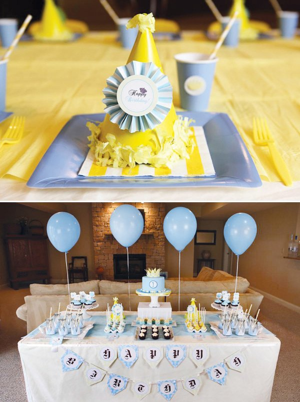 little prince birthday party dessert table with blue and yellow