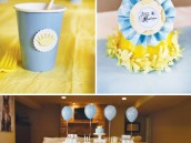 little prince birthday party yellow hat and blue tables